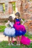 Forme la foto de dos muchachas hermosas en un fondo del ladrillo ru Imagen de archivo