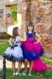 Forme la foto de dos muchachas hermosas en un fondo del ladrillo ru Fotografía de archivo libre de regalías