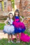 Forme la foto de dos muchachas hermosas en un fondo del ladrillo ru Foto de archivo