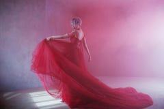 Forme la foto de la mujer magnífica joven en alineada roja Fondo texturizado, humo fotografía de archivo libre de regalías