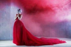 Forme la foto de la mujer magnífica joven en alineada roja Fondo texturizado, humo imagenes de archivo