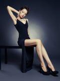 Señora elegante en vestido de noche Imagen de archivo libre de regalías