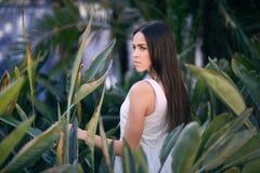 Forme la foto de una mujer elegante y joven en vestido sexy en fondo de las hojas Una hembra hermosa en un verde claro fotos de archivo