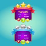 Forme la interfaz de usuario del juego del diseño para los videojuegos para el comput ilustración del vector