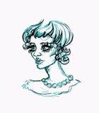 Forme a la muchacha con las líneas negras y azules del dibujo de lápiz Retrato de la mujer con el collar de la perla Imágenes de archivo libres de regalías