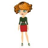 Forme a la muchacha de la ciudad en capa y vestido con la correa Imagen de archivo libre de regalías