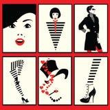 Forme la mujer, el zapato y las piernas en arte pop del estilo stock de ilustración