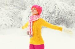 Forme a la mujer feliz del invierno que lleva el sombrero hecho punto colorido, suéter, bufanda goza en el fondo nevoso de Forest Imagen de archivo libre de regalías