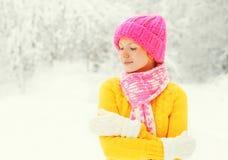 Forme a la mujer feliz del invierno que lleva el sombrero hecho punto colorido, suéter, bufanda goza sobre el fondo nevoso de For Fotografía de archivo