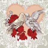 Forme la tarjeta de la tarjeta del día de San Valentín con los pájaros y las rosas en estilo del vintage ilustración del vector