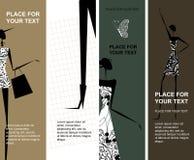Forme a las muchachas, banderas con el lugar para su texto libre illustration