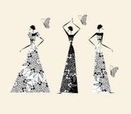 Forme a las muchachas en vestidos de boda ilustración del vector