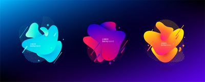 Forme liquide abstraite Conception liquide La couleur légère et lumineuse de gradient ondule avec les lignes géométriques, points illustration libre de droits