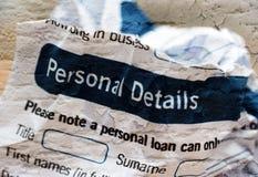 Forme los detalles personales Imágenes de archivo libres de regalías