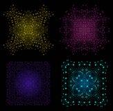 Forme lumineuse colorée de vecteur, structure moléculaire avec des lignes et Dots Background Set Photos libres de droits