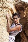 A menina na caverna fotografia de stock