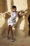 A menina na caverna fotos de stock royalty free