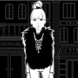 Forme a menina na rua, andando às lojas ilustração stock
