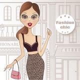 Forme a menina na rua que anda às lojas A menina vai s ilustração stock