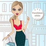 Forme a menina na rua que anda às lojas A menina vai s ilustração do vetor