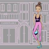 Forme a menina nas ruas de Paris, andando às lojas cute ilustração do vetor