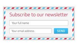 Forme moderne de bulletin d'information avec le nom et l'email Images libres de droits
