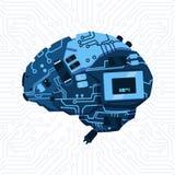 Forme moderne de fond de Brain Mechanism Over Circuit Motherboard Photo libre de droits