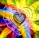 Forme multicolore de pétillement de coeur Images libres de droits