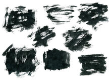 Forme nere di rettangolo dell'inchiostro isolate su bianco Immagini Stock