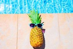 Forme o abacaxi e os óculos de sol em uma associação de água azul Imagens de Stock