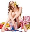 Forme o modelo da mulher com curva do ouro Fotos de Stock Royalty Free