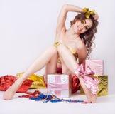 Forme o modelo de sorriso da mulher Fotografia de Stock Royalty Free