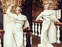 Forme o retrato da mulher bonita no vestido branco longo em um ol Imagem de Stock Royalty Free