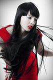 Forme o retrato da mulher com cabelo do vôo Imagem de Stock
