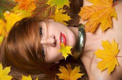 Forme a outono guardando alegre de sorriso da mulher a folha de bordo amarela dentro Imagem de Stock