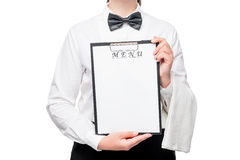 Forme para la entrada del menú en las manos del camarero Foto de archivo libre de regalías