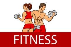 Forme physique avec les silhouettes musculeuses d'homme et de femme L'homme et la femme tient des haltères Illustration de vecteu Images stock