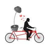 Forme physique d'amant Homme et barbell sur la bicyclette Promenade sur le tandem Toujours illustration libre de droits