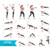 Forme physique de séance d'entraînement de femme, aérobie et exercices illustration libre de droits