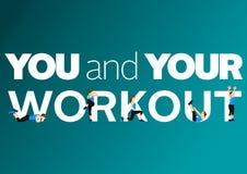 Forme physique et citation de motivation de gymnase Photo stock