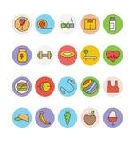 Forme physique et icônes 1 de vecteur colorées par santé Images libres de droits
