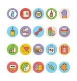 Forme physique et icônes 5 de vecteur colorées par santé Photographie stock