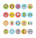 Forme physique et icônes 7 de vecteur colorées par santé Photographie stock libre de droits