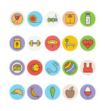 Forme physique et icônes 1 de vecteur colorées par santé Photo libre de droits