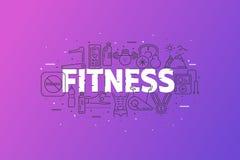Forme physique et sports Bannière avec la ligne nuage de course d'icône Images stock
