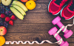 Forme physique, fruits sains, régime et concept actif de modes de vie, dum Image stock