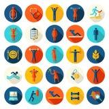 Forme physique, icônes plates de vecteur de sport réglées Photo libre de droits