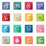 Forme physique plate de soins de santé d'icônes et fond blanc Photos stock