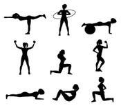 Forme physique pour les icônes plates de femme réglées Image libre de droits