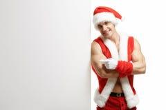 Forme physique Santa Claus avec des ventes d'une bannière Image stock
